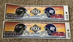 BALTIMORE RAVENS vs NEW YORK GIANTS Super Bowl XXXV Bumper S