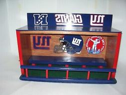 New York Giants Bobble heads display case Stained Cherry wit