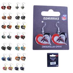 Brand New Licensed NFL All Teams Swirl Heart Earring Dangle