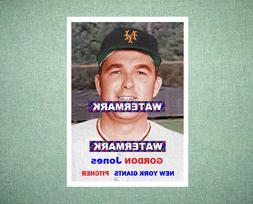 Gordon Jones New York Giants 1957 Style Custom Baseball Art
