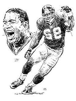 Michael Strahan New York Giants Lithograph By Michael Mellet