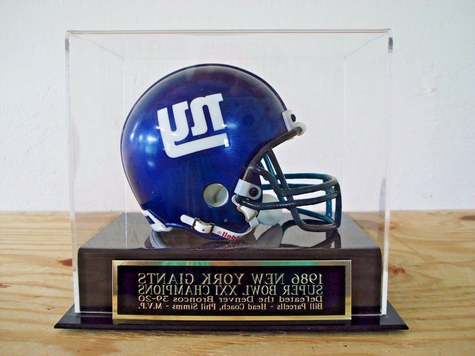 new york giants football mini helmet display