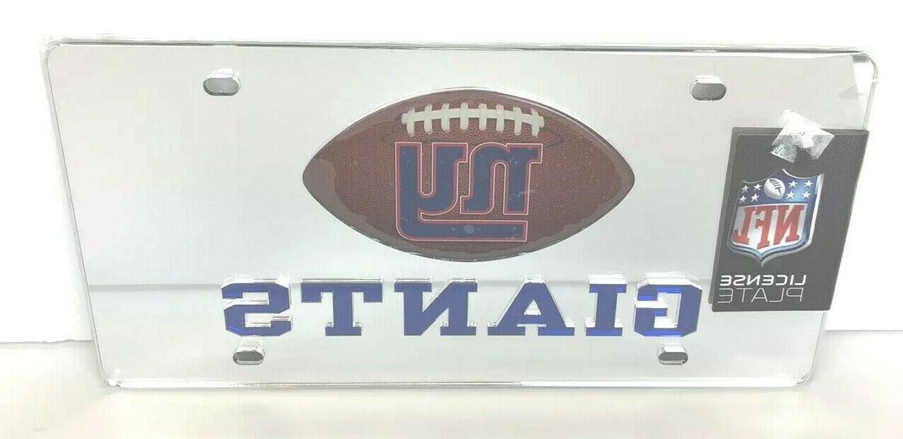 new york giants mirrored license plate acrylic