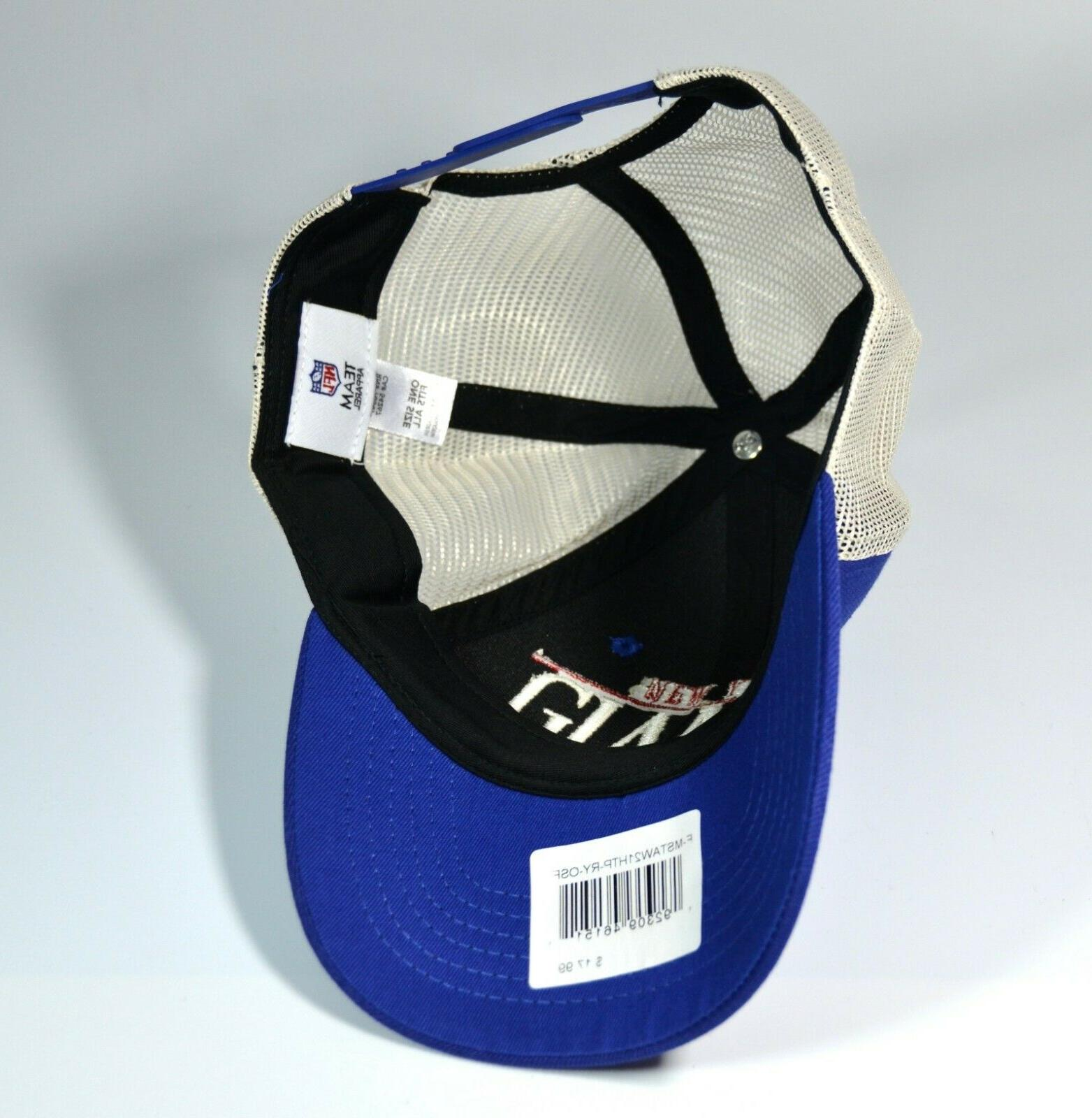 NFL NY Giants Blue/Cream Straightaway Mesh-back Hat Cap