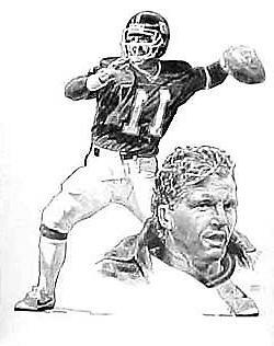 Phil Simms New York Giants Lithograph By Michael Mellett
