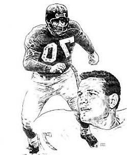 Sam Huff New York Giants Lithograph By Michael Mellett