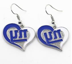 New New York Giants Heart Shape Fish Hook Earrings, Gift for