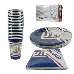New NFL New York Giants 80pc Paper Plates Cups Forks Napkins