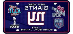 New York Giants 4X Super Bowl Champions Metal Tag Novelty Li