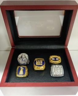 New York Giants - 5 Championship Ring Set W/ Wooden Box.. Ma