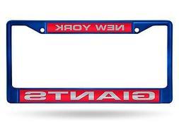 New York Giants BLUE LASER FRAME Chrome Metal License Plate