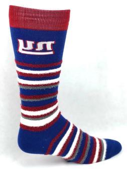New York Giants Football Muchas Rayas Crew Fuzzy Socks One S
