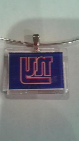 New York Giants glass bead pendant necklace
