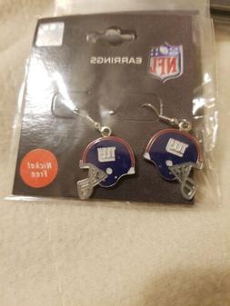 New York Giants Helmet Logo Dangle Style Earrings