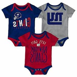 New York Giants Infant Creeper Set NFL Little Tailgater 3-Pi