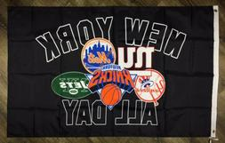 """New York Giants Jets Knicks Mets Yankees """"ALL DAY"""" Flag 3x5"""