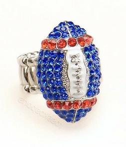 New York Giants NFL Fan Women Girls Blue & Red Rhinestone Fo