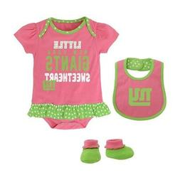 "New York Giants NFL Infant Pink ""Little Sweet"" Creeper, Bib"