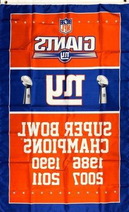 New York Giants NFL Super Bowl Championship Flag 3x5 ft Spor