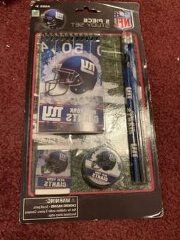 New York Giants NY 5 Piece Study Set Pencil Eraser Notepad