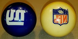 NEW YORK GIANTS POOL BALL & NFL CUE BALL SET BRUNSWICK BILLI