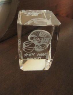 NEW YORK GIANTS Rectangular 3D Hologram Clear Glass Crystal