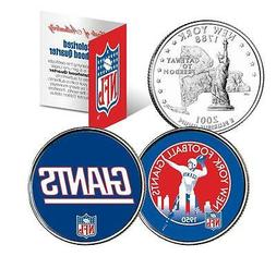 NEW YORK GIANTS *Retro & Team Logo*  Colorized Quarters 2-Co