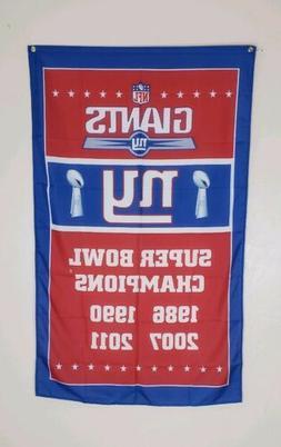 New York Giants Super Bowl Banner Flag 3x5 Ft NFL Football M