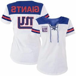 New York Giants T-Shirt Women's Striped Lace-Up NFL 5th & Oc