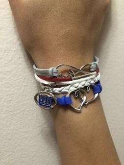 New York Giants Women's Bracelet Love Charm Ladies New