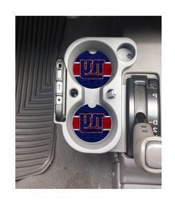 NEW YORK GIANTS WOOD-GRAIN DESIGN RUBBER CAR COASTERS SET  N