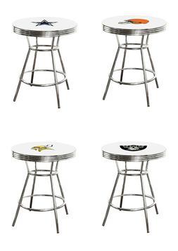 Bar Table White Top Chrome with Football Team Logo Glass Opt