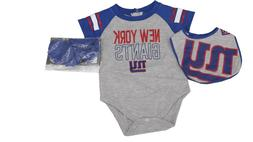 NFL New York Giants Baby Infant Size 3 Piece Creeper with Bo