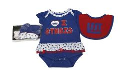 NFL Official New York Giants Girls Infant 3 Piece Creeper Bo