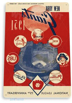 TIN SIGN B184 New York Giants Program Tin Metal Sign Team Ba